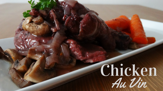 chicken au vin classic French recipe with wine