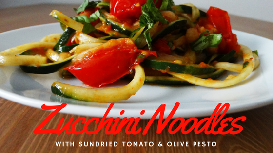 vegan zucchini noodles with sundried tomato and olive pesto