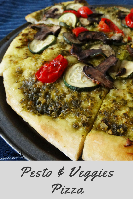 pesto and vegetables vegan pizza