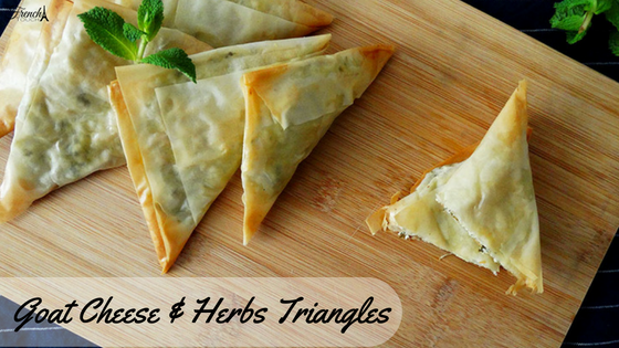 goat cheese and herbs filo pastry triangles